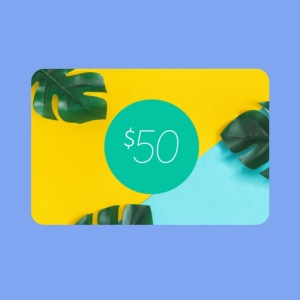 a simple graphic of a custom designed gift card