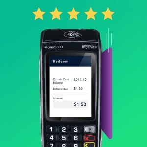 a POS payment terminal showing a card balance of available funds to spend